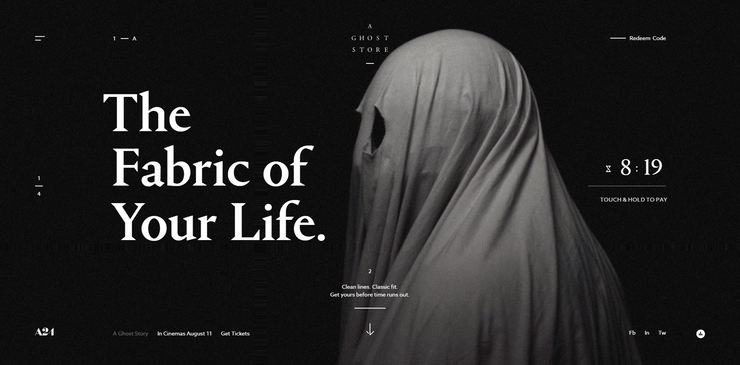 A ghost story Ecommerce Website design example