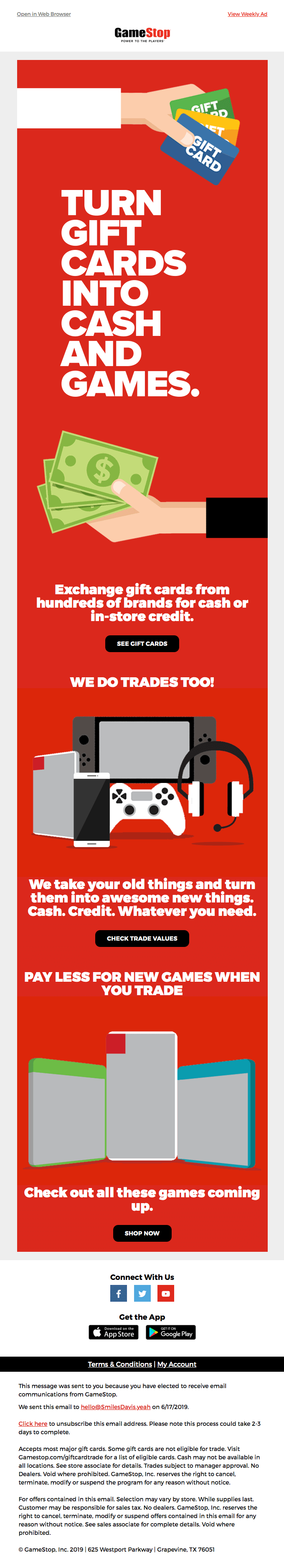 Game stop email design example