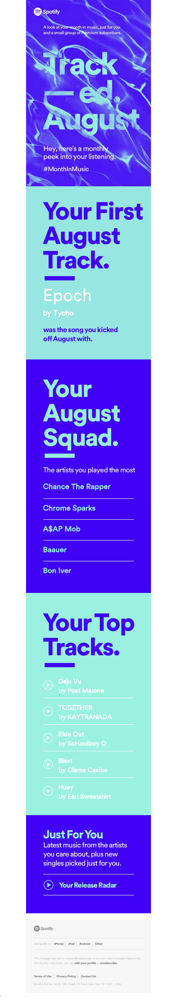 Spotify email design example
