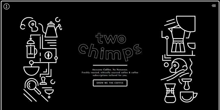 Two Chimps Coffee Limited Ecommerce Website design example