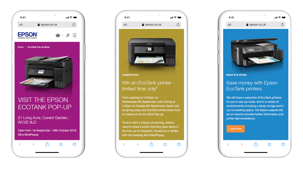 Mobile Design for Epson EcoTank Campaign