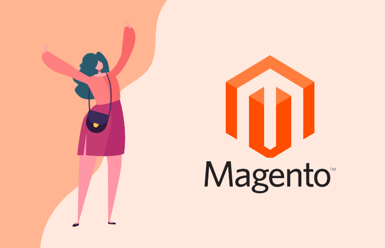 Woman with magento logo