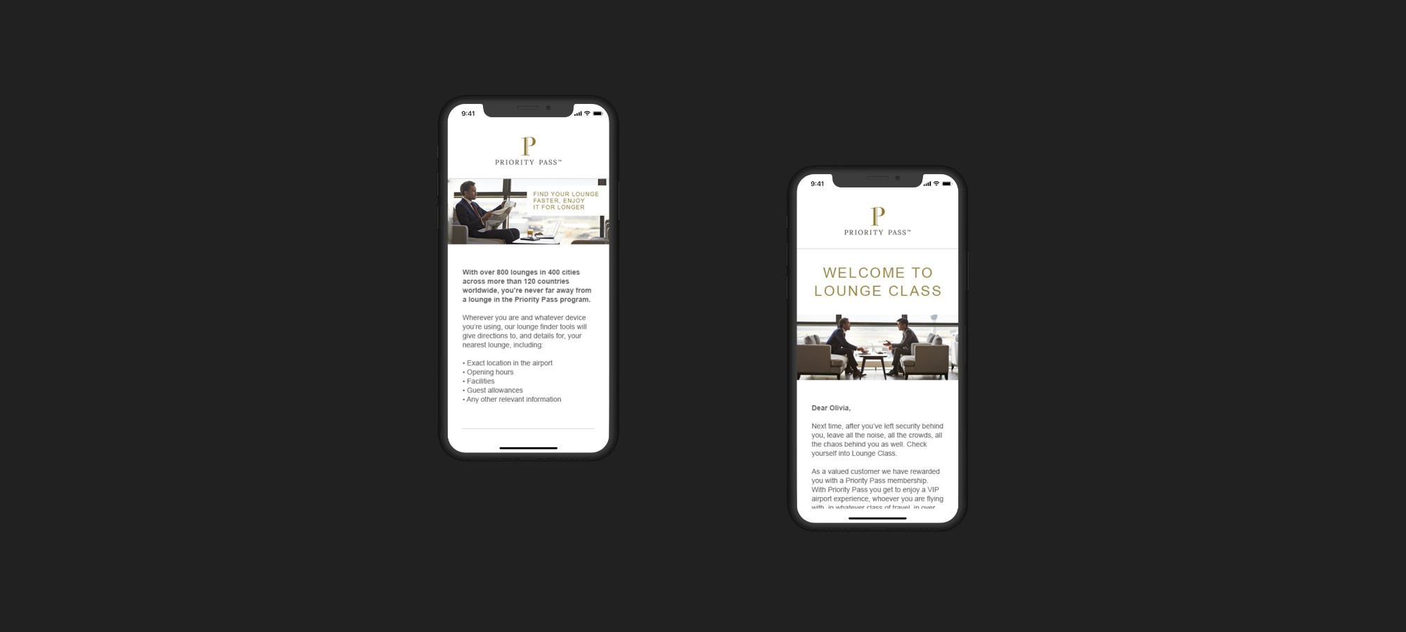 Mobile showing Priority Pass website and mobile showing welcome email to customer