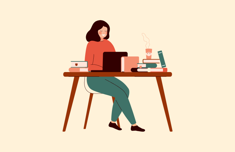 A woman working at desk