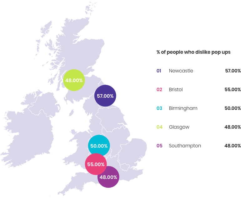 Which cities hate pop ups the most UK map