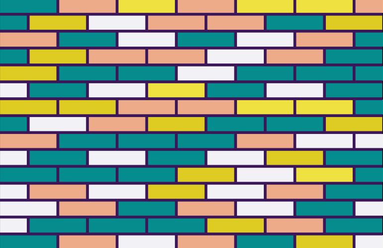 Multi-coloured brick wall