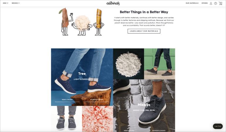 Allbirds website