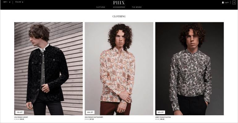 Phix Clothing website