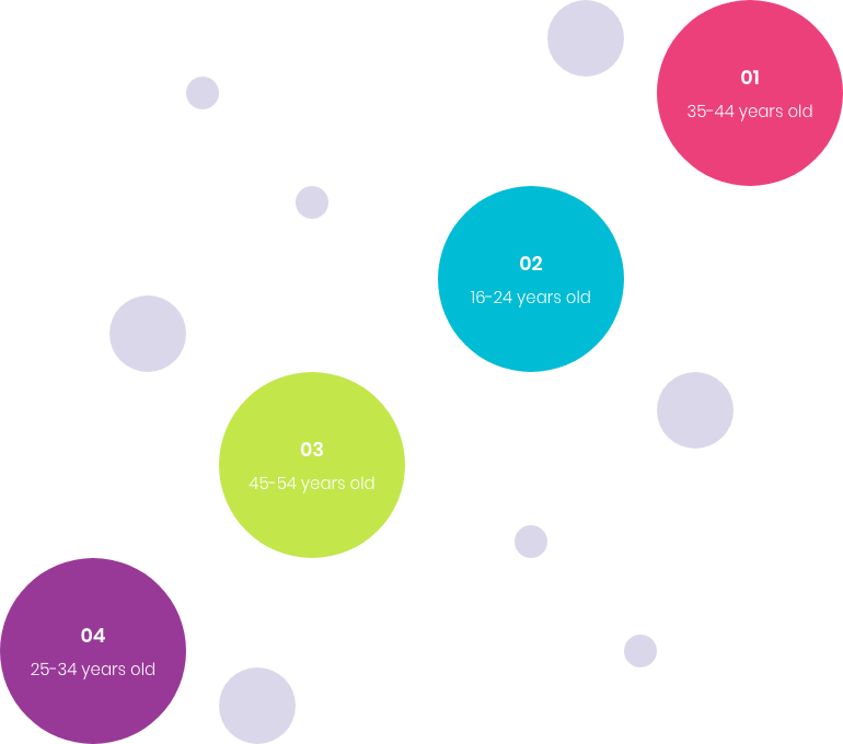 Four circles demonstrating 35-44 year olds experience the most issues with UX