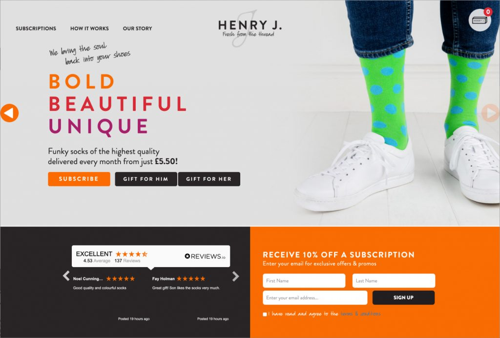 Henry J Socks Website