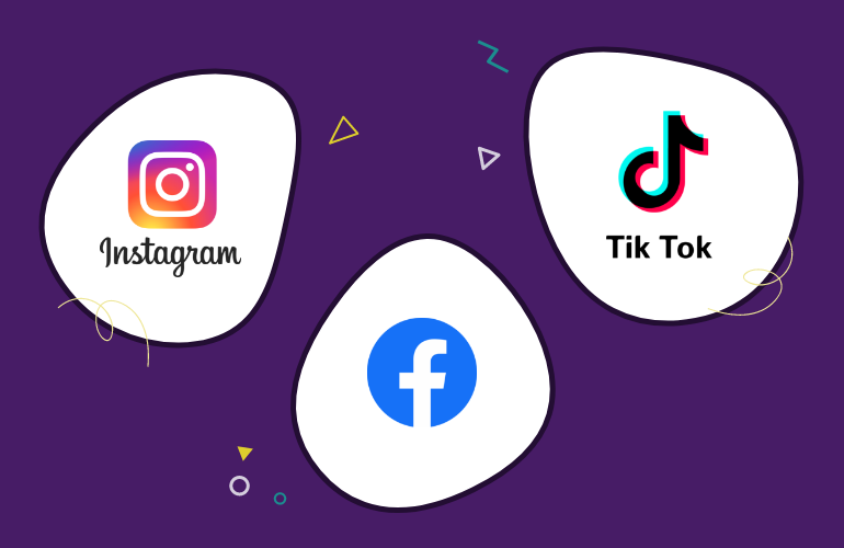 Purple background image showing Instagram, Facebook and Tik Tok logos