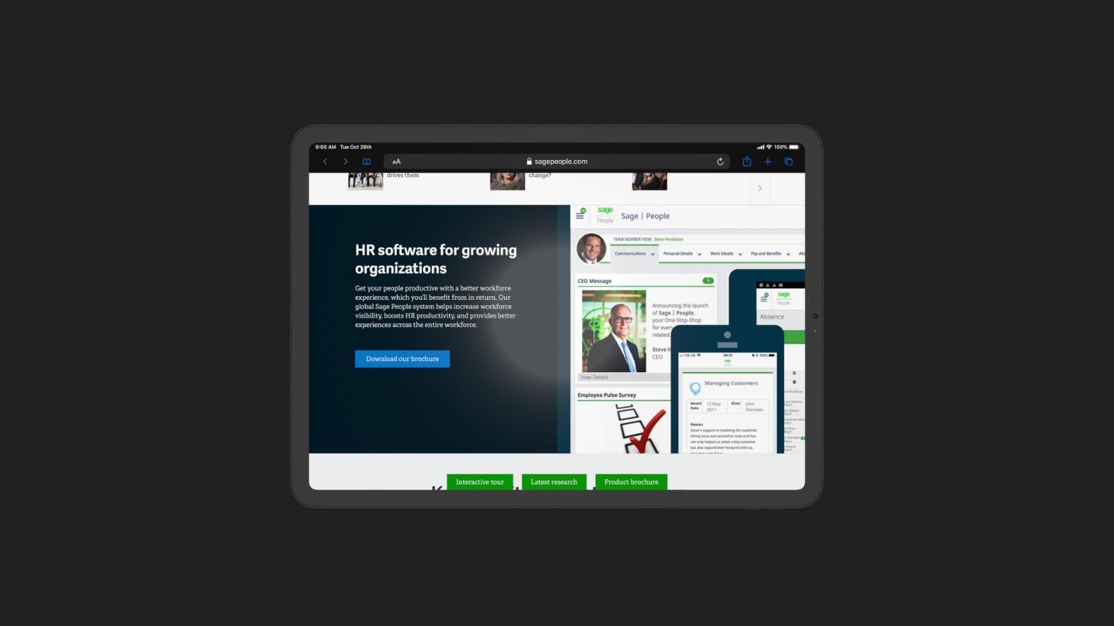 Tablet displaying sagepeople website