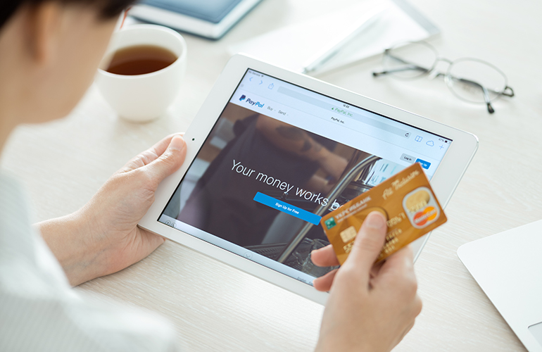 Using PayPal with tablet