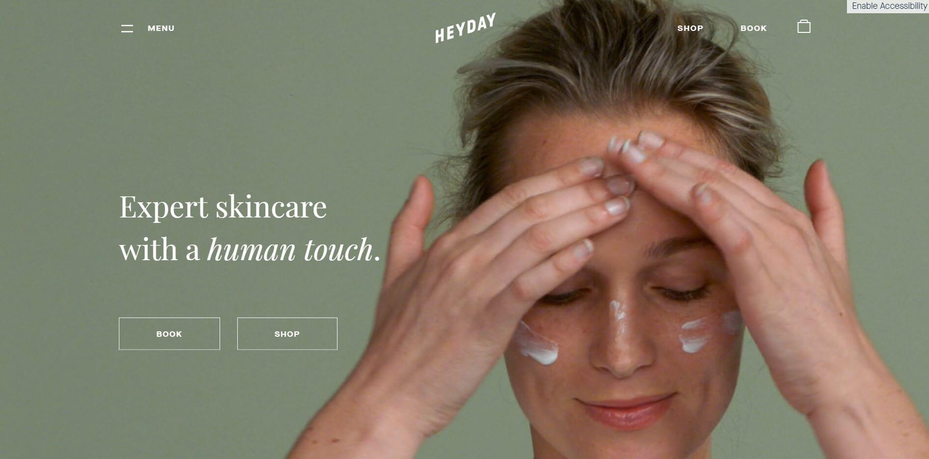 HeyDay Skin Care Ecommerce Website Design Example