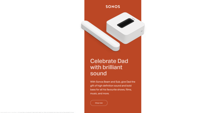 Sonos email marketing design example