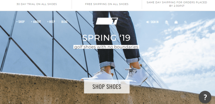 True Linkswear ecommerce website design example